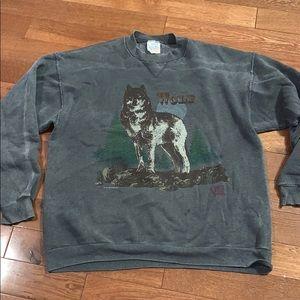 Men's Vintage lone Wolf gray sweatshirt large grey